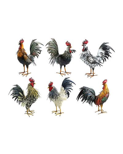 Painted Iron Rooster Figurines  Set of 6