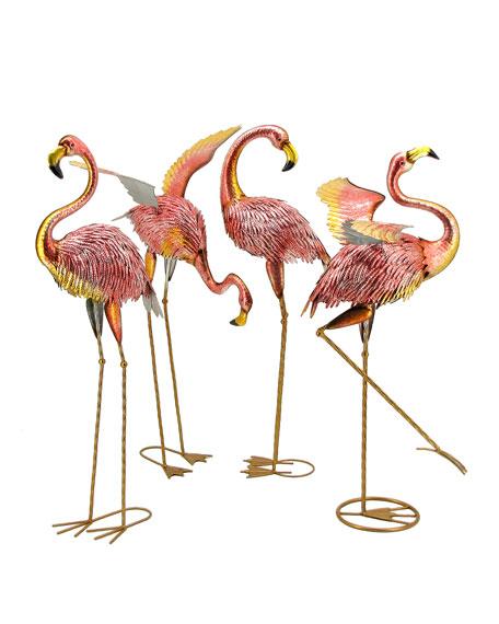 Zaer Ltd. International Metallic Pink Flamingos, Set of 4
