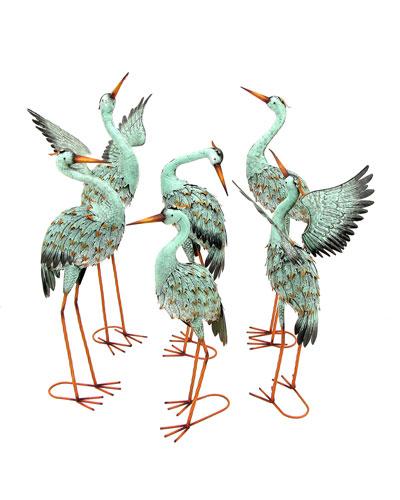 Assorted Iron Blue Cranes  Set of 6