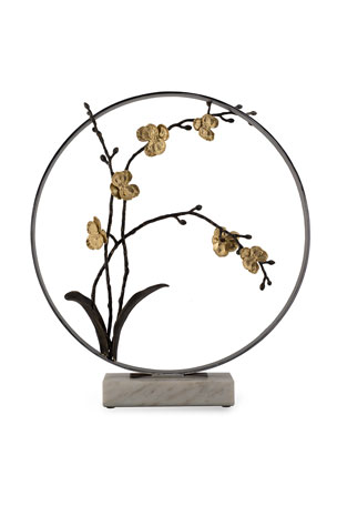 "Michael Aram Gold Orchid 22"" Moon Gate Sculpture"