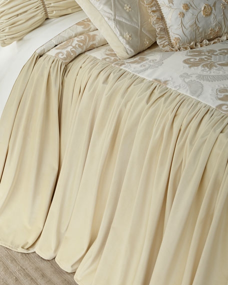 Dian Austin Couture Home Deluxe Damask Queen Coverlet with Velvet Skirt