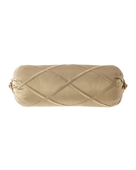Dian Austin Couture Home Sandoa Diamond Trellis Neck Roll Pillow with Rosette Ends