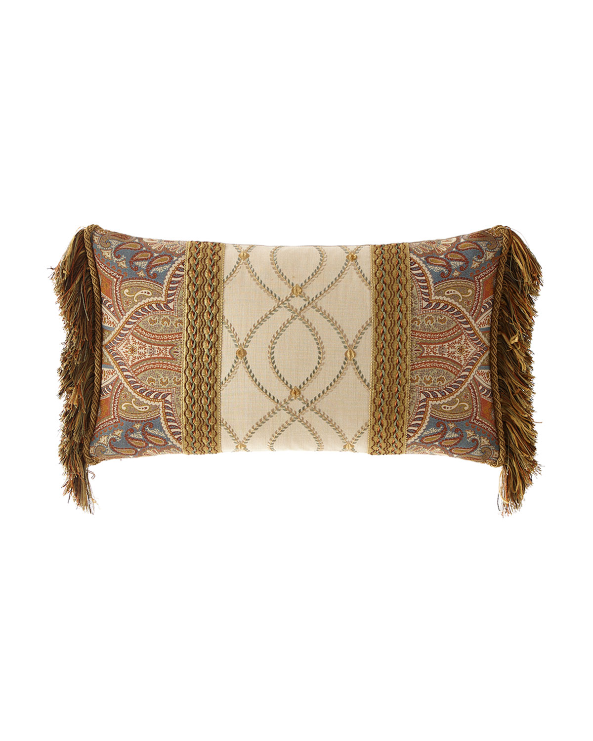 Dian Austin Couture Home Sandoa Pieced Oblong Pillow with Fringe