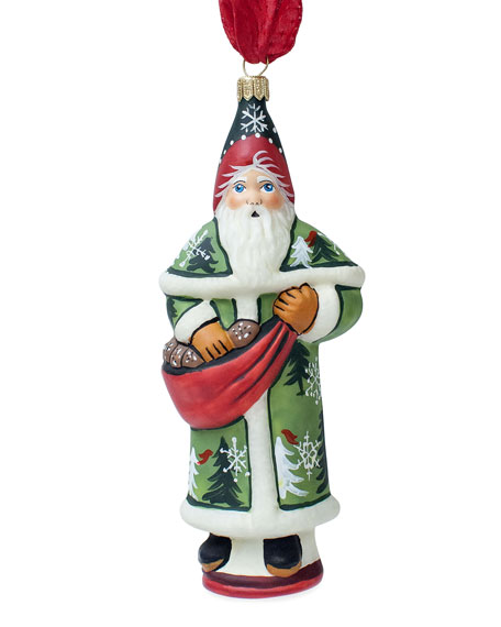 Vaillancourt Folk Art Forest Santa with Pine Cones Ornament