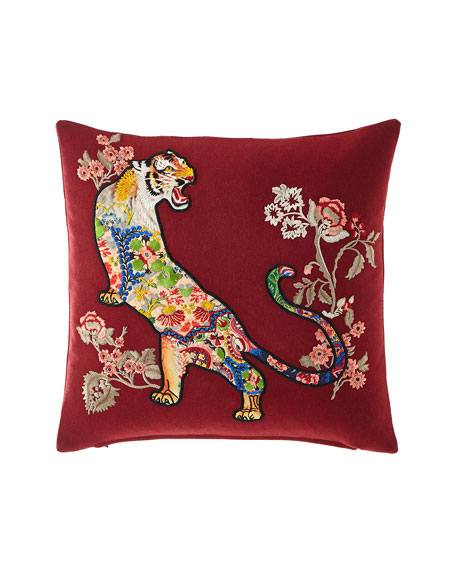 """Etro Floral Tiger Embroidered Pillow, 18""""Sq."""