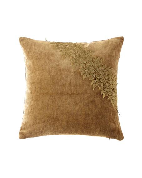 Etro Velvet Pillow with Lace Ribbon