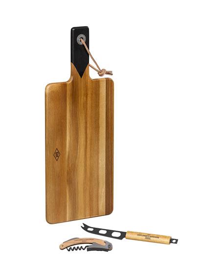 Gentlemen?s Hardware Men's Cheese Board & Knife Set with Wine Opener
