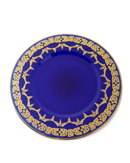 Exclusive Blue Oro Bello Charger Plates, Set of 4