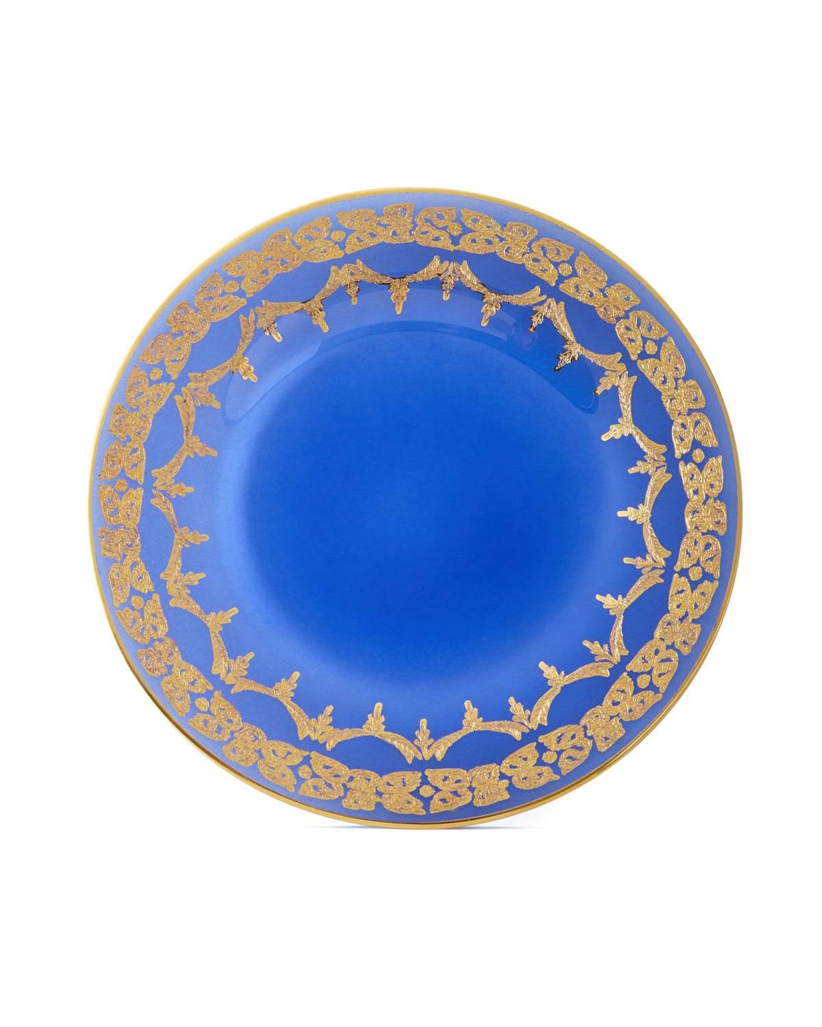 Neiman Marcus Blue Oro Bello Dinner Plates, Set of 4
