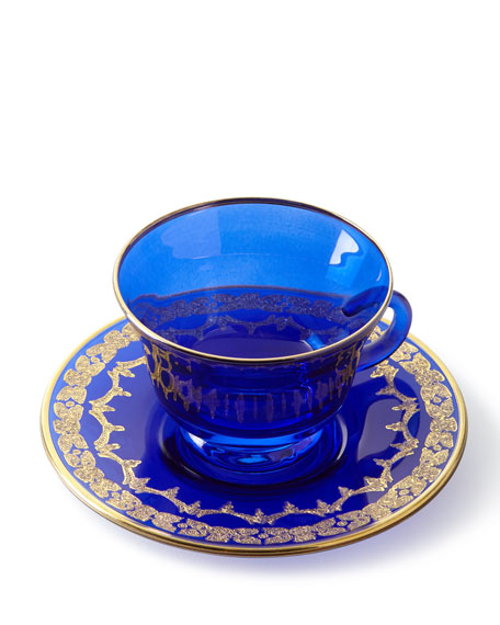 Exclusive Blue Oro Bello Teacups & Saucers, Set of 4