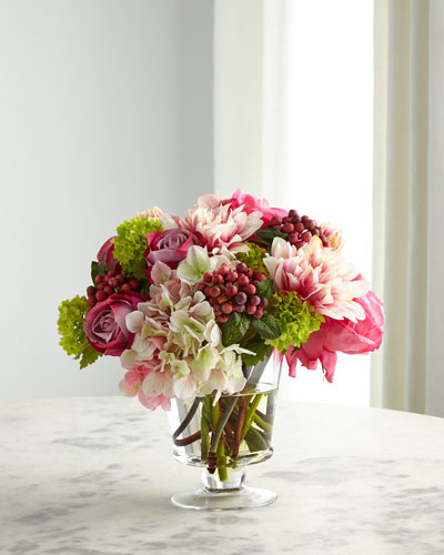 Rose Hydrangea Pink Cream Florals in Glass Vase