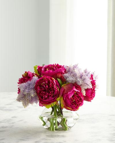 Peony Thistle Fuchsia Purple Florals in Glass Vase