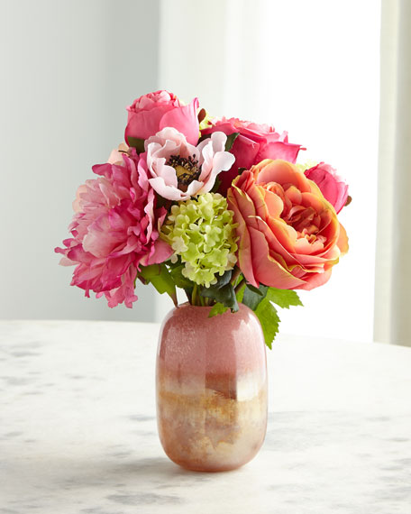 NDI Rose Anemone Peach Pink Florals in Glass Vase