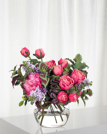 NDI Rose Lilac Fuchsia Purple Florals in Glass Vase