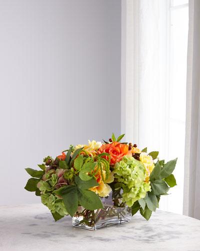 Yellow Orange Rose Peony Arrangement in Rectangle Glass Vase