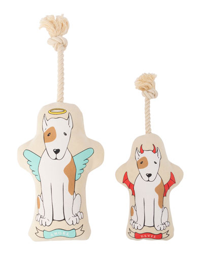 Naughty/Nice Canvas Small Dog Toy