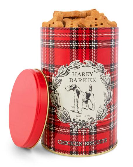 Harry Barker Plaid Chicken-Flavored Biscuit Tin, 12 oz./ 340 g