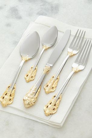 Godinger 20-Piece Gold Accent Baroque Flatware Set
