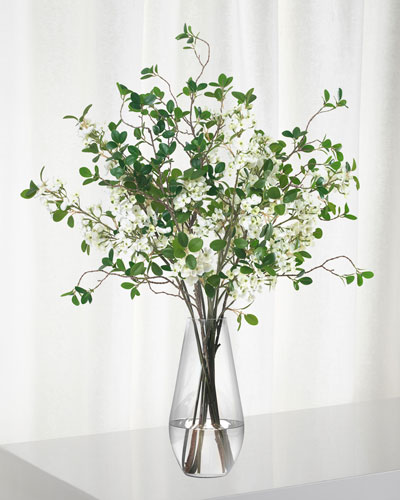 White Blossom And Leaf Bouquet in Teardrop Vase