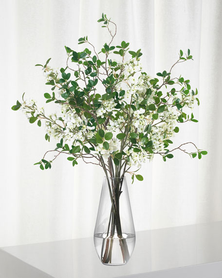 Diane James White Blossom And Leaf Bouquet in Teardrop Vase
