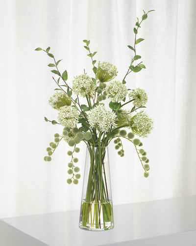 White Allium And Beech Branches in Tall Glass Vase