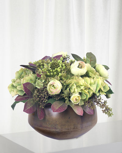 Green Hydrangea And Agapanthus in Bowl