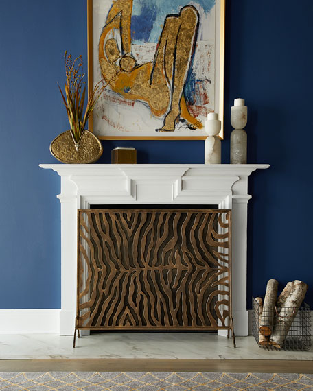 Dr. Livingston Oversized Gold Iron Tole Zebra Design Fireplace Screen