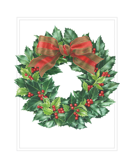 Caspari Holly Wreath Embossed Cards with Envelopes
