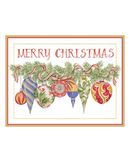 Caspari Ornaments Embossed Cards with Envelopes