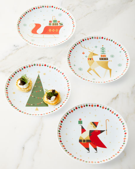 Neiman Marcus by Vista Alegre NM Christmas Dessert Plates Boxed Set