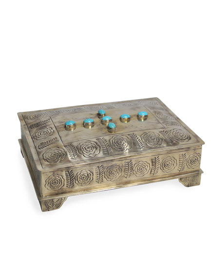 J. Alexander Rustic Silver Stamped Bible Box with Turquoise Trim