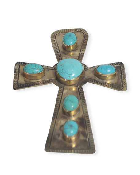 J. Alexander Rustic Silver Large Stamped Cross with Turquoise Trim