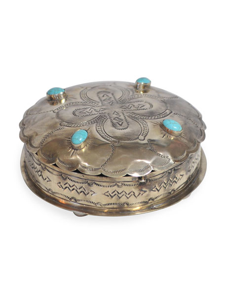 J. Alexander Rustic Silver Stamped Round Box with Turquoise Trim