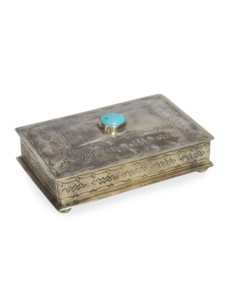J. Alexander Rustic Silver Stamped Rectangular Box with Turquoise Trim