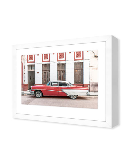 Red White Cuban Car Giclee On Paper Wall Art With Frame