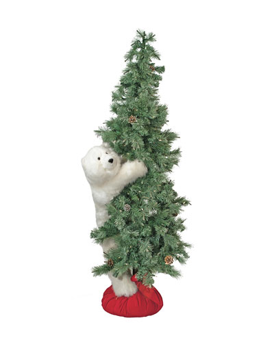 White Bear on Lighted Frosted Tree  6'