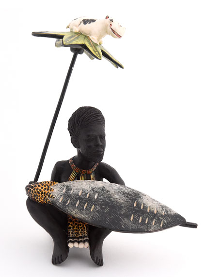 Ardmore Ceramic Art Zulu Tribesman Sculpture