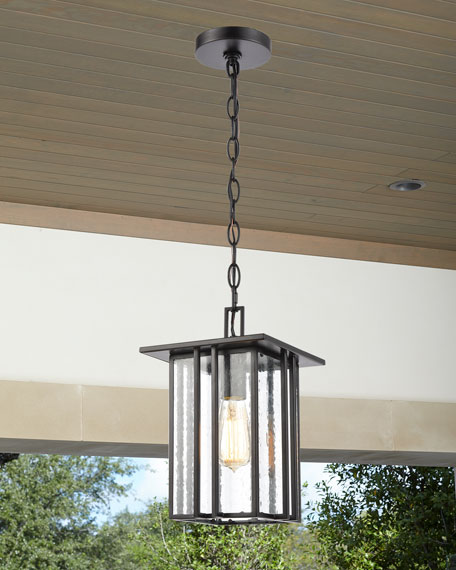 Sterling Industries Radnor 1-Light Outdoor Lighting Pendant in Matte Black with Seedy Glass