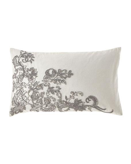 Callisto Home Linen Lumbar Pillow with Floral Beading