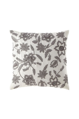 "Callisto Home Linen Floral Embroidered Pillow, 22""Sq."