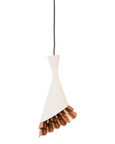 The Phillips Collection Ruffle Pendant, White/Copper