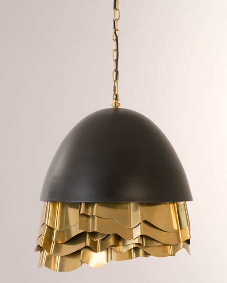 The Phillips Collection Ruffle Chandelier, Black/Brass