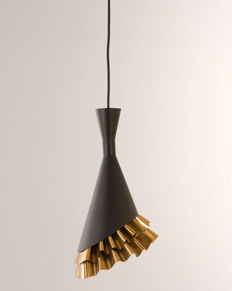 The Phillips Collection Ruffle Pendant, Black/Brass