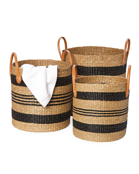 Pigeon and Poodle Hudson Seagrass Storage Baskets, Set of 3