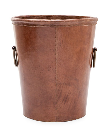 Pigeon and Poodle Ogden Small Round Leather Wastebasket