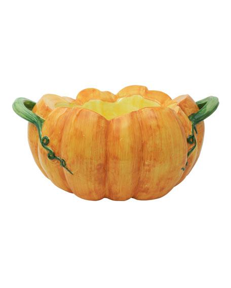 Vietri Pumpkins Figural Pumpkin Tureen with Handles