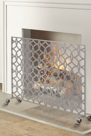 Circle & Diamond Geometric Single Panel Fireplace Screen