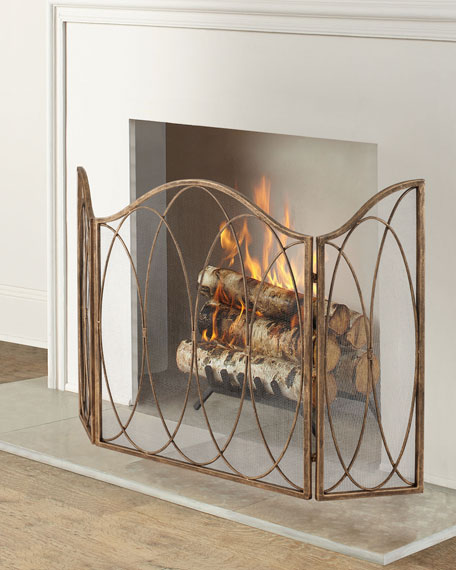3-Panel Fireplace Screen with Round Bar Oval Accents