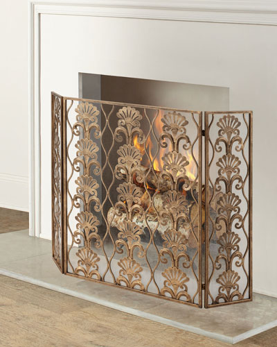 3-Panel Shell Accent Fireplace Screen