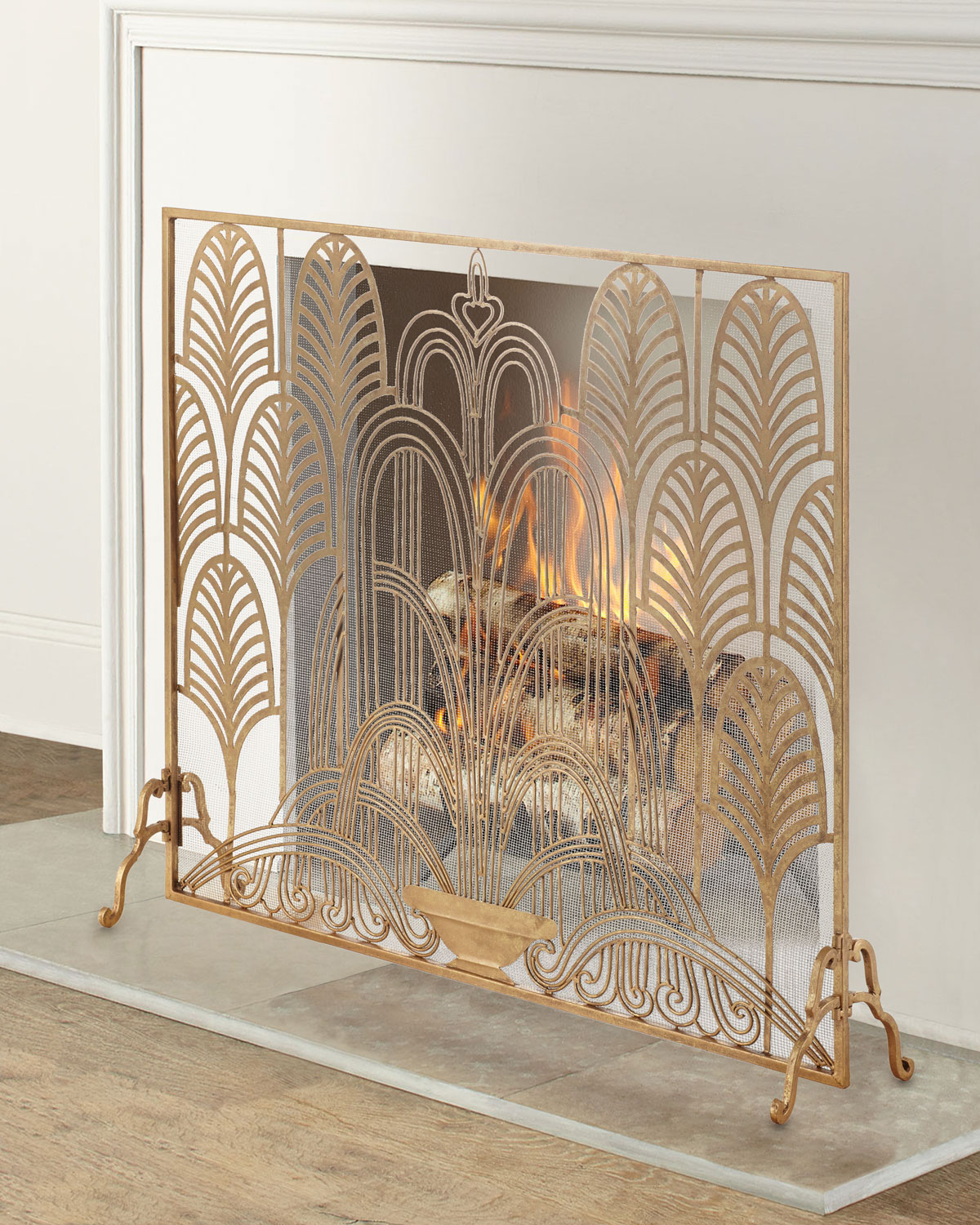 New Neiman Marcus Italian Gold Branch Fireplace Screen HORCHOW Also in White